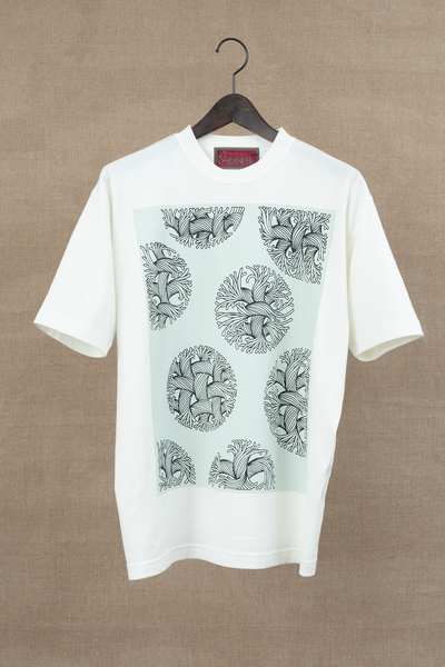 Tshirt Printed- Bubble Rope- Emerald Print- Off White
