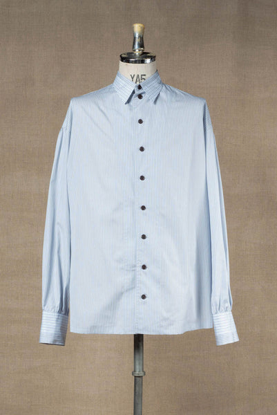 Shirt 895B- Mix- Cotton100% Stripe A1136+4009- Ash Blue