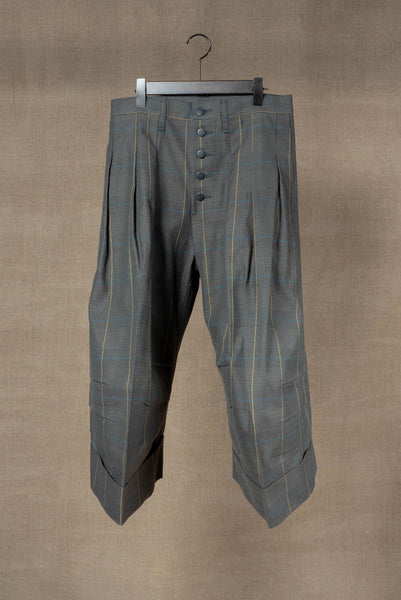 Trousers 21B- Cotton100% Original Check SS20- Turquoise