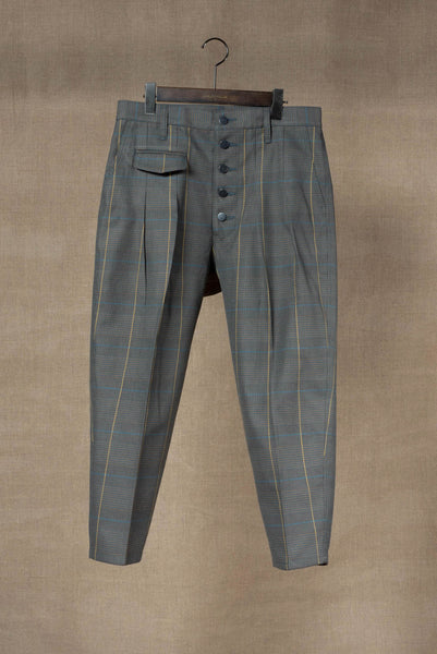 Trousers 11- 20SS- Cotton100% Original Check SS20- Turquoise