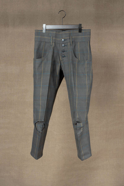 Trousers 14B- Cotton100% Original Check SS20- Turquoise