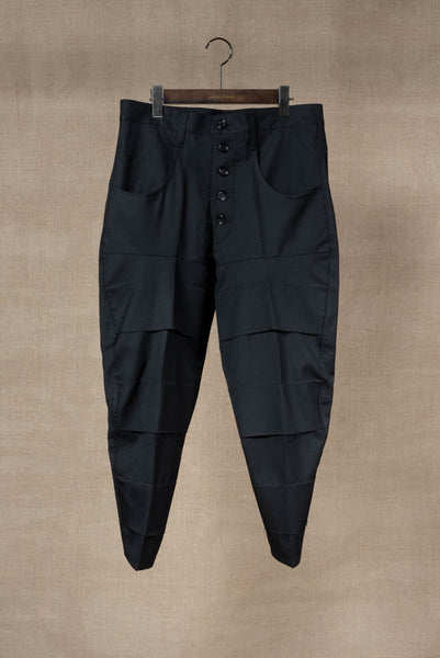 Trousers 42B- Wool100% Serge- Savage Detail- Black