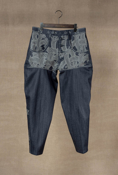 Trousers 42- 20SS- Cotton% Denim / Print Mix- 42S Pattern Rope- Indigo