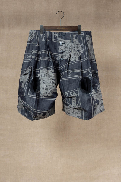 Trousers 64- 20SS- Cotton% Denim / Print Mix- 42S Pattern Rope- Indigo
