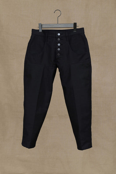 Trousers 42S- Cotton Back Satin- Black