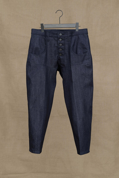 Trousers 42S- Denim- Black Stitch- Indigo