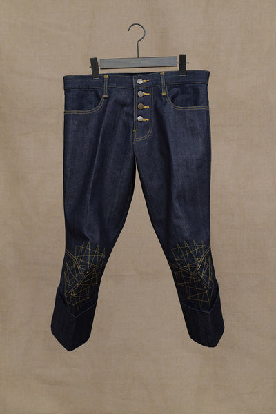 Trousers 733- Denim- Black Facing Patch- Yellow Stitch