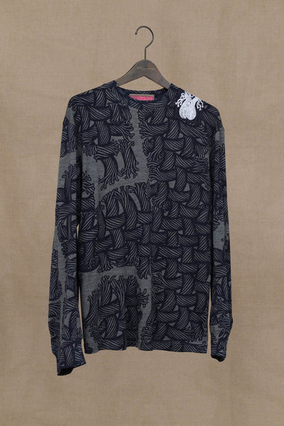 Knit Sweater 91B- Wool- Isle Rope Print- Patch with Print- Grey