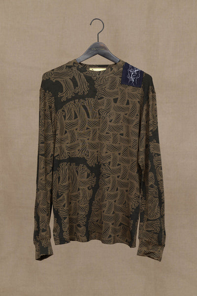 Knit Sweater 91B- Wool- Isle Rope Print- Patch with Print- Khaki