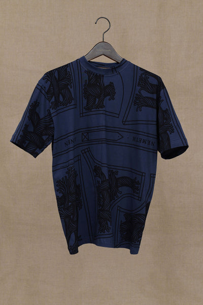 Christopher Nemeth Online Store Products- Tshirt 1781B- Short Sleeve/ Pattern Rope Print- Navy