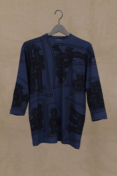 Christopher Nemeth Online Store Products- Tshirt 1781B- Long Sleeve/ Pattern Rope Print- Navy