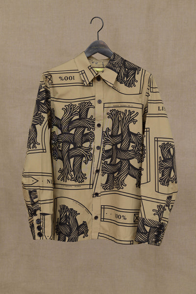 Christopher Nemeth Online Store Products- Shirt 18752- Cotton Broad- Pattern Rope Print- Beige