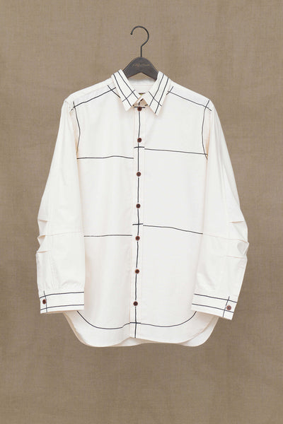 Christopher Nemeth Online Store Products- Shirt 5471- Cotton Sheeting- Line Paint- White