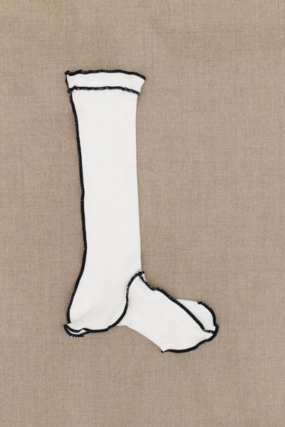 Socks Long- White Body- Black Stitch