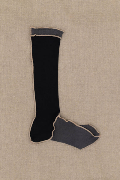 Socks Long- Grey/Black Body- Beige Stitch