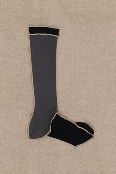 Socks Long- Black/Grey Body- Beige Stitch