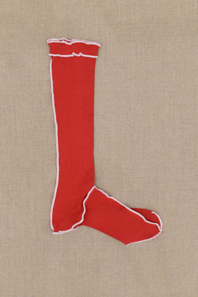 Socks Long- Red Body- White Stitch