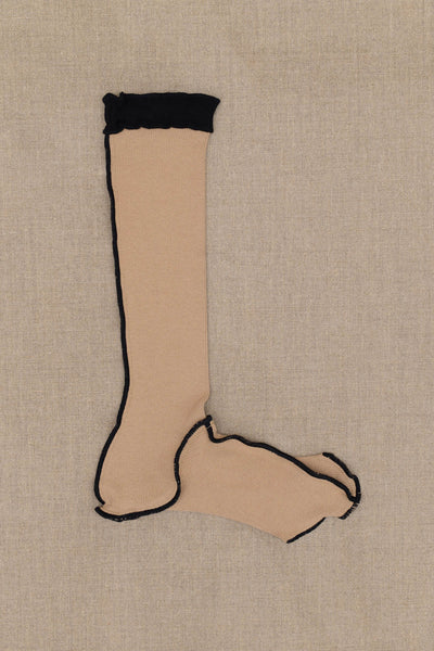 Christopher Nemeth Online Store Products- Socks Long- Beige Body- White Rib- Black Stitch