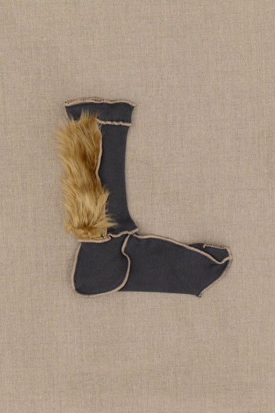 Christopher Nemeth Online Store Products- Socks Fur- Grey Body- Lion Fur- Beige Stitch