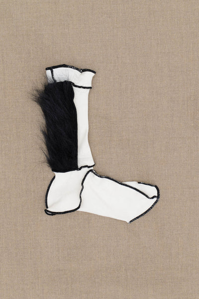 Christopher Nemeth Online Store Products- Socks Fur- White Body- Black Fur- Black Stitch