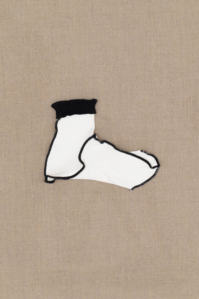 Socks Short- White Body- Black Rib- Black Stitch
