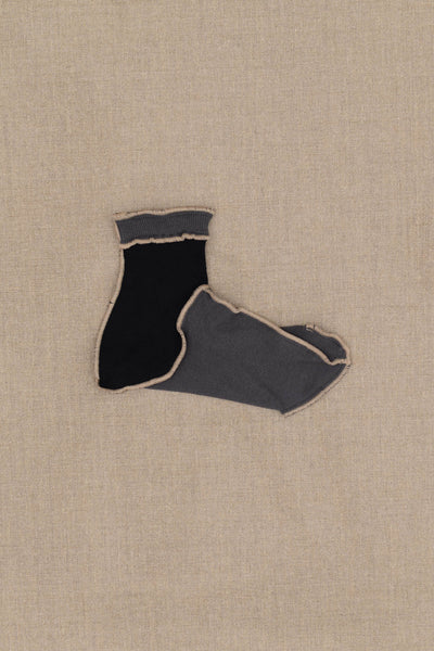 Socks Short- Grey Body- Black- Beige Stitch