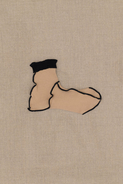 Socks Short- Beige Body- Black Rib- Black Stitch