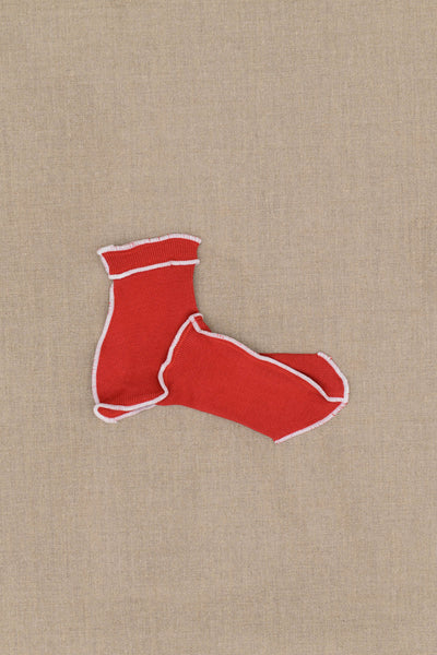 Socks Short- Red Body- White Stitch