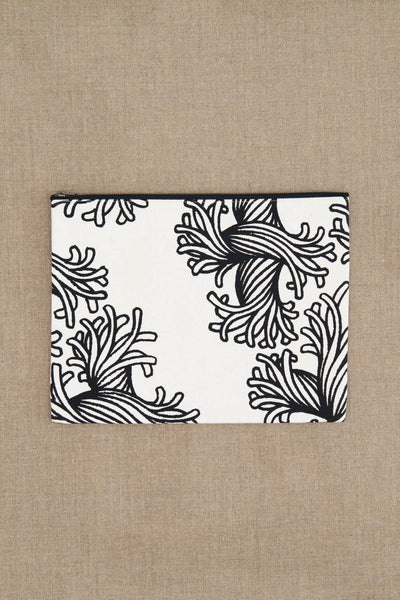 Pouch- Cotton- L Rope Print- White