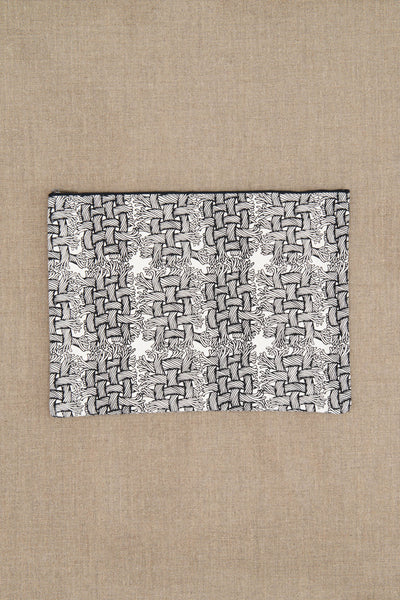 Pouch- Cotton- M Rope Print- White