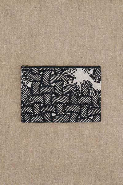 Pouch- Linen- Isle Rope Print- Raw