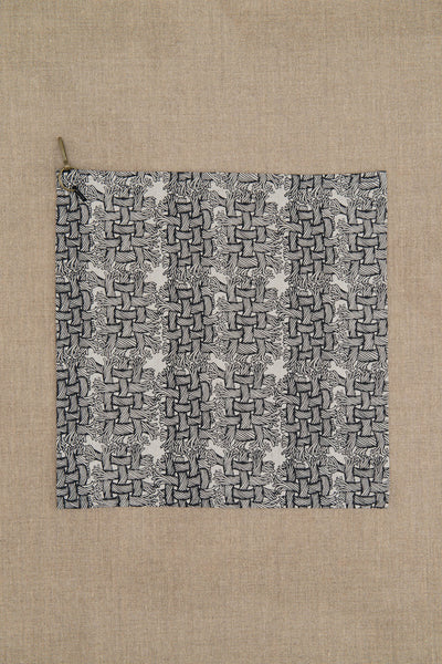 Handkerchief- Light Colour Thick Linen- M Rope Print- Natural