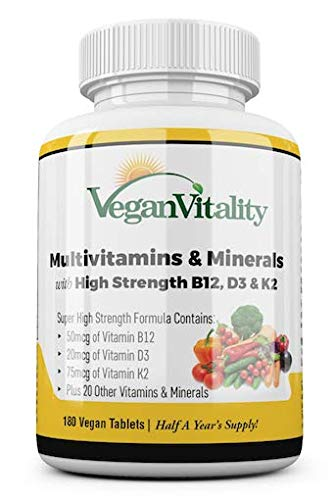 Multivitamins & Minerals with high stregth B12, D3 & K2.