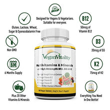 Load image into Gallery viewer, Vegan Multivitamins & Minerals with High Strength Vitamin B12, D3 & K2. 180 multivitamin Tablets - 6 Months Supply. Designed for Vegans & Vegetarians.