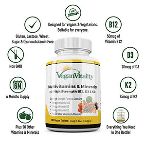 Vegan Multivitamins & Minerals with High Strength Vitamin B12, D3 & K2. 180 multivitamin Tablets - 6 Months Supply. Designed for Vegans & Vegetarians.