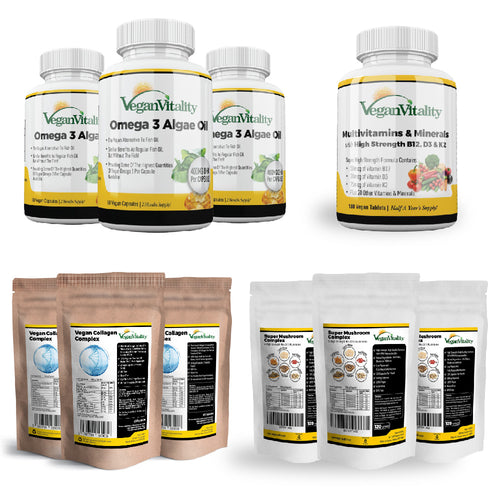 6 Month Saver Bundle 4 - Vegan Omega 3, Multivitamins, Mushroom Complex & Vegan Collagen
