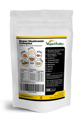 Super Mushroom Complex: A High Strength Formula Of 6 Powerful Mushrooms-Vegan Vitality UK