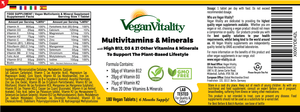 Vegan Multivitamins & Minerals with High B12, D3 & K2