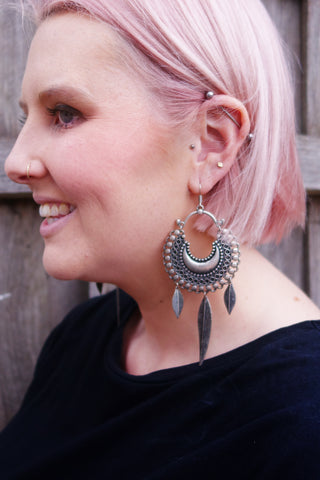 Feather Drop-Earrings