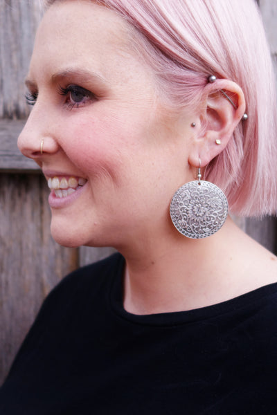 Floral Disc Earrings
