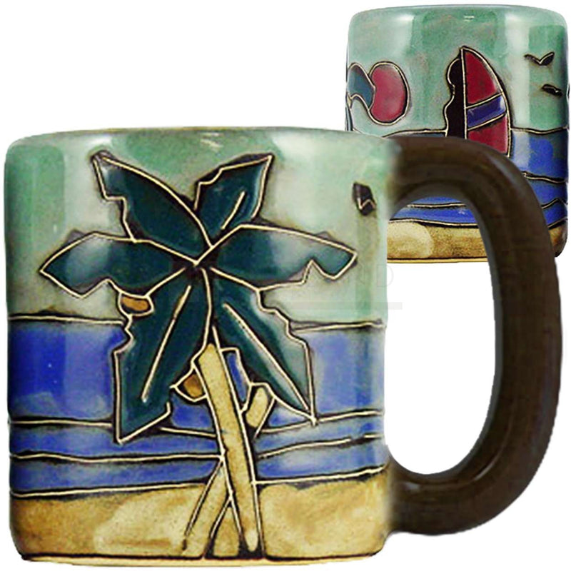 Mara Round Mug 16 oz Palm Trees/Surfers   510N3