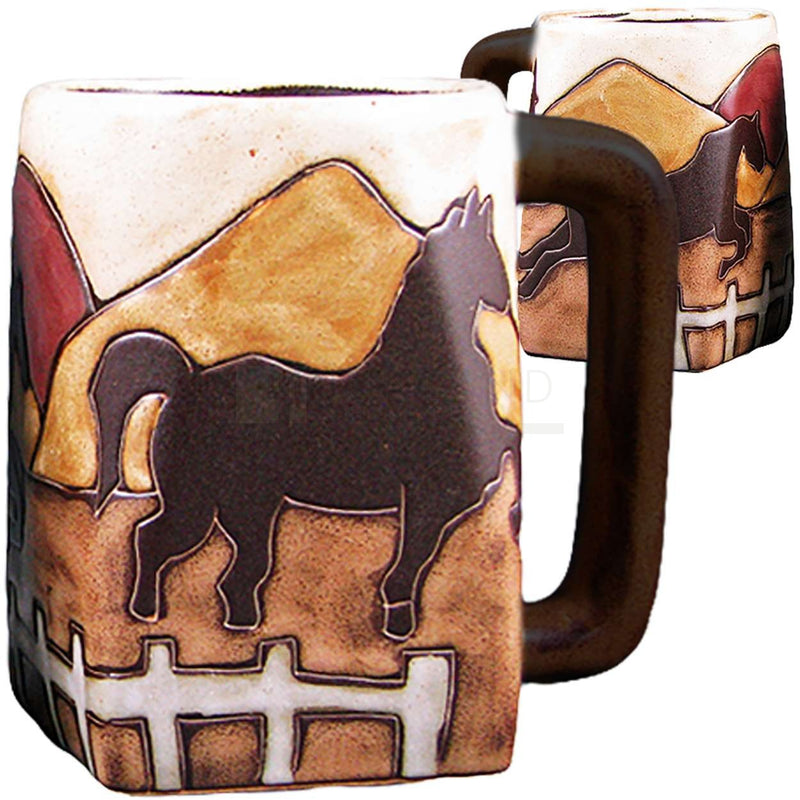 Mara Square Bottom Mug 12 oz - Horses  511Z4
