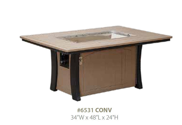 Casual Comfort Bay Shore Rectangle Fire Table  6531CONV