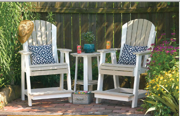 LuxCraft Adirondack Balcony Chair  - Deluxe End Table Set  PABC-DET28 (2 Chairs & Table))