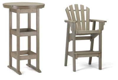 "Quick Ship Breezesta 26"" Bar Table Set with 2 Coastal Bar Chairs  -   in 2 color combinations BH-0906SET-QS"
