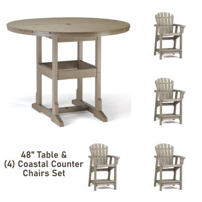 Breezesta Counter Height  5 Piece Set - 48 inch Round Table & 4 Coastal Counter Chairs CH-0809 Set