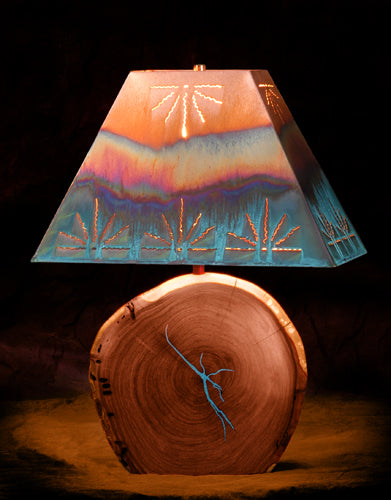 Mesquite Lamp with Turquoise Inlay and Copper Shade