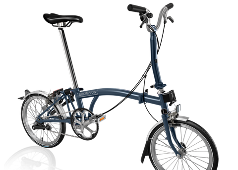 2019 Brompton M3L Tempest Blue w/ Marathon Tires & Battery Lights