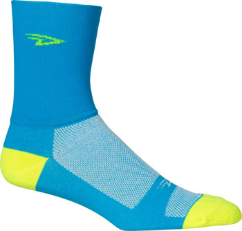 DeFeet Aireator Hi Top Sock: Blue/Yellow