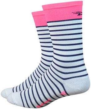 "DeFeet Aireator 6"" Sailor Sock: White/Navy/Flamingo Pink"